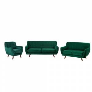 Conjunto de sofás em veludo verde esmeralda BODO
