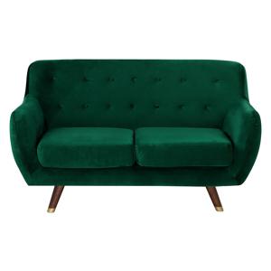 Sofá de 2 lugares em veludo verde esmeralda BODO