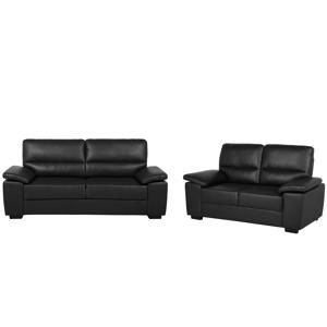 Conjunto de sofás em pele sintética preta VOGAR