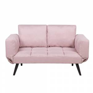 Sofá-cama em tecido rosa BREKKE