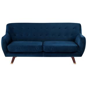 Sofá de 3 lugares em veludo azul marinho BODO