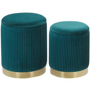 Conjunto de 2 pufes com arrumação azuis MIRAMAR