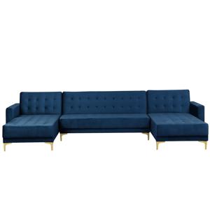 Sofá-cama em forma de U com 5 lugares em veludo azul escuro ABERDEEN
