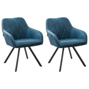 Conjunto de 2 cadeiras de jantar em tecido azul MONEE
