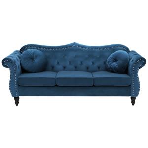 Sofá de 3 lugares em veludo azul cobalto SKIEN