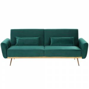 Sofá-cama em veludo verde EINA