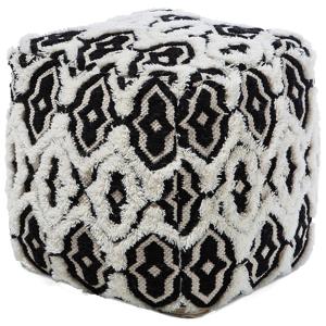 Tamborete preto e branco 45 x 45 cm ORAI