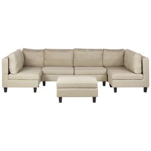 Sofá de 6 lugares com repousa-pés em tecido creme FEVIK