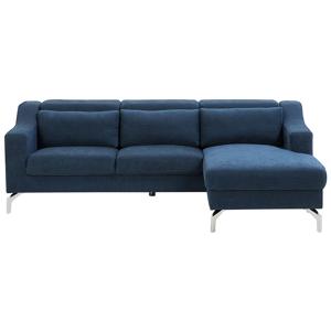 Sofá de canto em tecido azul GLOSLI