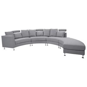 Sofá circular de 7 lugares em tecido cinzento claro ROTUNDE