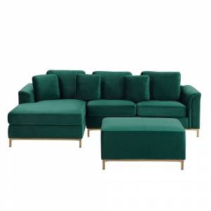 Sofá de canto à direita e repousa-pes em veludo verde esmeralda OSLO