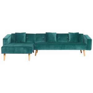 Sofá de canto em veludo verde versão direita VADSO