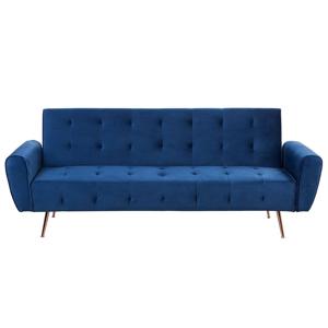 Sofá-cama em veludo azul marinho SELNES