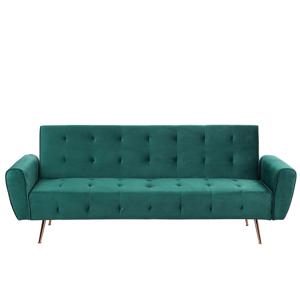 Sofá-cama em veludo verde SELNES
