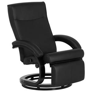 Cadeira reclinável em pele sintética preta MIGHT