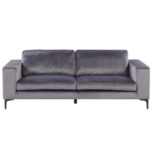 Sofá de 3 lugares em veludo cinzento escuro VADSTENA