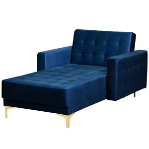 Sofá chaise longue reclinável em veludo azul esccuro ABERDEEN
