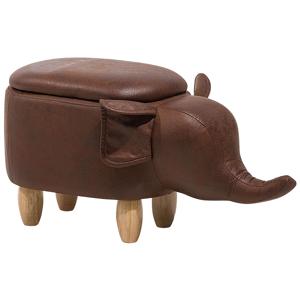 Tamborete em pele sintética marrom escuro ELEPHANT