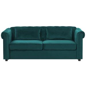 Sofá-cama de 3 lugares em veludo verde escuro CHESTERFIELD