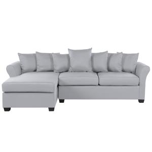 Sofá de canto à direita de 3 lugares em tecido cinzento claro VIKNA