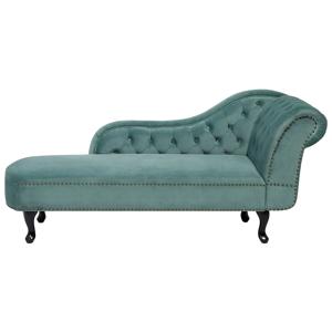 Sofá chaise-longue verde menta em veludo Apoio direito NIMES