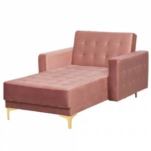Sofá chaise longue reclinável em veludo rosa ABERDEEN