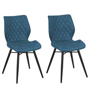 Conjunto de 2 cadeiras de jantar em tecido azul marinho LISLE