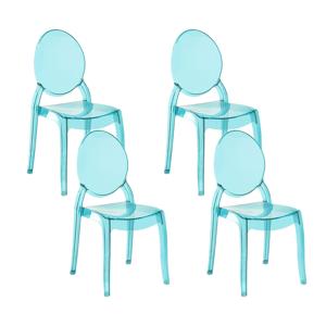 Conjunto de 4 cadeiras de jantar em acrílico azul transparente MERTON