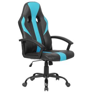 Cadeira de escritório em pele sintética preta e azul SUCCESS