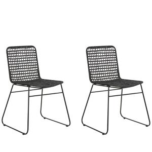 Conjunto 2 cadeiras de jantar de vime preto BERITO