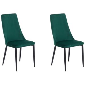 Conjunto de 2 cadeiras de refeição de veludo verde CLAYTON