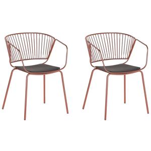 Conjunto de 2 cadeiras em metal cor cobre vermelho RIGBY
