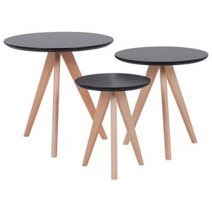 Conjunto de 3 mesas redondas pretas VEGAS