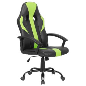 Cadeira de escritório em pele sintética preta e verde SUCCESS