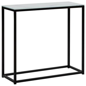 Consola de vidro com efeito de mármore branco com preto DELANO