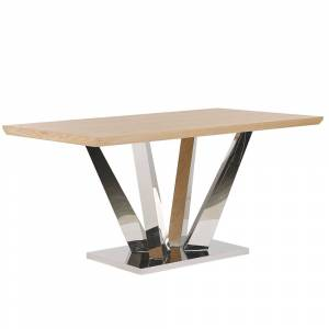 Mesa de jantar castanho claro e inox 160 x 90 cm BONAVENTURA