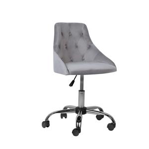 Cadeira de escritório em veludo cinza PARRISH