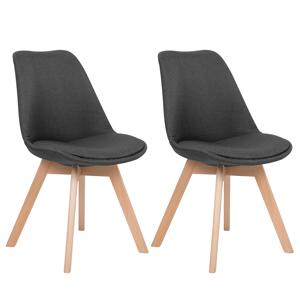Conjunto de 2 cadeiras de jantar, em cinzento escuro DAKOTA II