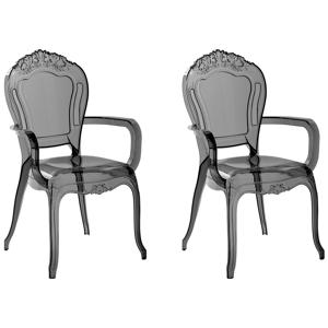 Conjunto de 2 cadeiras de jantar pretas transparentes VERMONT II