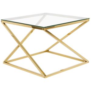 Mesa de centro dourada com tampo de vidro BEVERLY