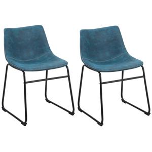 Conjunto de 2 cadeiras de jantar em tecido azul BATAVIA