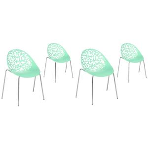 Conjunto de 4 cadeiras de jantar verdes MUMFORD