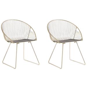 Conjunto de 2 cadeiras de refeição douradas AURORA