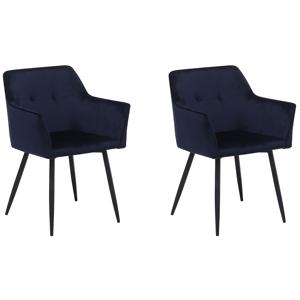 Conjunto de 2 cadeiras de veludo azul escuro JASMIN