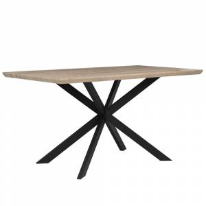 Mesa de jantar castanha clara com preto 140 x 80 cm SPECTRA