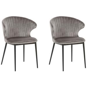 Conjunto de 2 cadeiras de jantar em veludo cinzento AUGUSTA