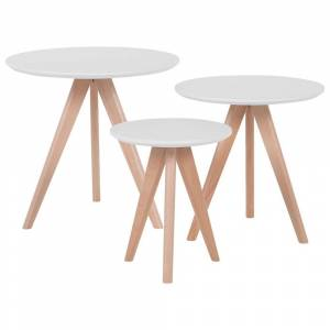 Conjunto de 3 mesas redondas brancas VEGAS