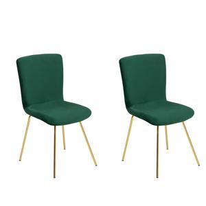 Conjunto de 2 cadeiras de jantar em veludo verde esmeralda RUBIO