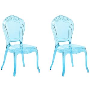 Conjunto de 2 cadeiras - Azul transparente - Acrílico - VERMONT