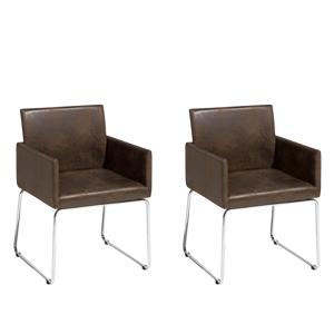 Set 2 cadeiras de jantar - marrom escuro - GOMEZ